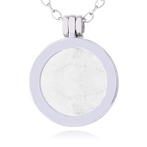 Morella Damen Halskette 70 cm Edelstahl und Anhänger mit Edelstein Bergkristall SMALL Coin 23 mm Chakren Scheibe in Schmuckbeutel