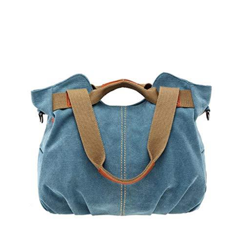 Kairui Leinwand Handtaschen Umhängetasche Damen Damen Taschen, Vintage Hobo Top Griff Shopping Umhängetasche Tote Casual Strand Multifunktionstaschen (blau) - Hippie Vintage Tote