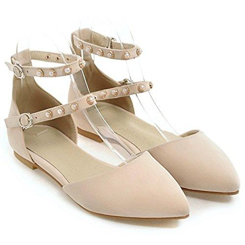 COOLCEPT Femme Mode Sangle De Cheville Laniere Sandales Plat Bout Ferme Chaussures Taille Beige