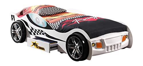 VIPACK SCTR200W Autobett Turbo Racing Weiß , Maße ca.: 225 x 63 x 111 cm , Liegefläche 90x200 cm , weiß lackiert aufgedruckte Rennwagen-Optik
