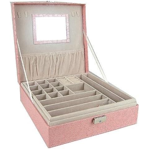Viskey, grande, quadrato, in pelle PU, per cosmetici, contenitore Organizer per gioielli con orecchini e ciondolo a forma di anello Rosa