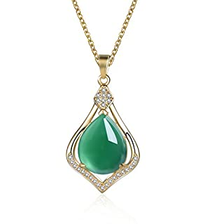 Fine Green Jade 925 Sterling Silver Pendant Necklace for Women with 18 Inches Chain (18ct Yellow Gold Plated)