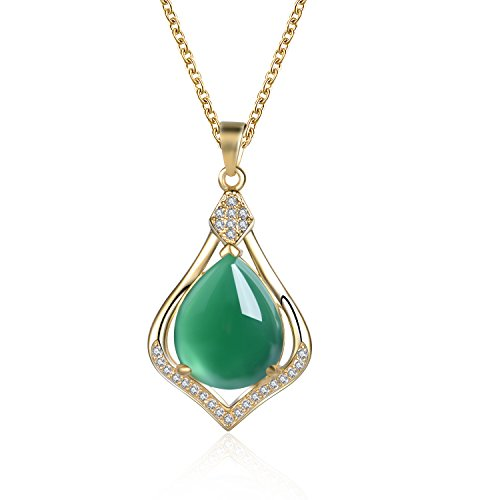 Fine Green Jade 925 Sterling Silver Pendant Necklace for Women with 18 Inches Chain m3f0Rsook