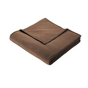 Biederlack Wohn- und Kuscheldecke, 100 % Baumwolle, Samtband-Einfassung, 150 x 200 cm, Schoko, Cotton Pure, 239749