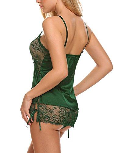 Avidlove Damen Sexy Negligee Babydoll Nachtwäsche Nachtkleid Nachthemd Kleid Lingerie Dessous Set mit Wickeloptik X-Grün