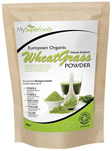 Organic Wheatgrass Powder (500grams) | Mysuperfoods | certificato organico | fonte di vitamina E, calcio, ferro, zinco, fibra di polvere | potente antiossidante più alta qualità disponibile