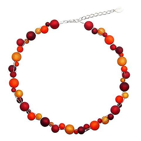 Halskette aus echten Polarisperlen ca. 45 cm + 4.5 cm PK1212 bordeaux rot