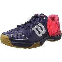 Wilson Unisexe Chaussures de Badminton, Idéal pour les joueurs de tous niveaux, Pour les terrains intérieurs, VERTEX, Tissu Synthétique, Bleu/Rouge (Navy Wil/Neon Red Wil/Silver Metall)