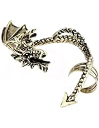 [FANT49] Boucle d'oreilles gothique dragon originale argentée homme femme