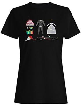 Nuevo Coche De La Boda Con Diseño Plano camiseta de las mujeres h345f