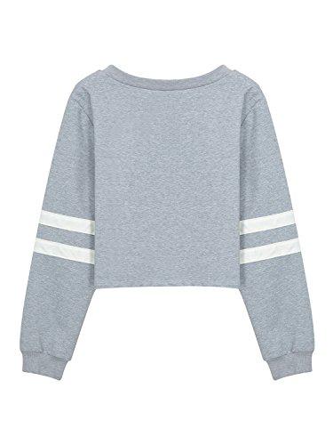Choies Damen Loose Langarm Crop Top Sweatshirt Weiß Gestreift