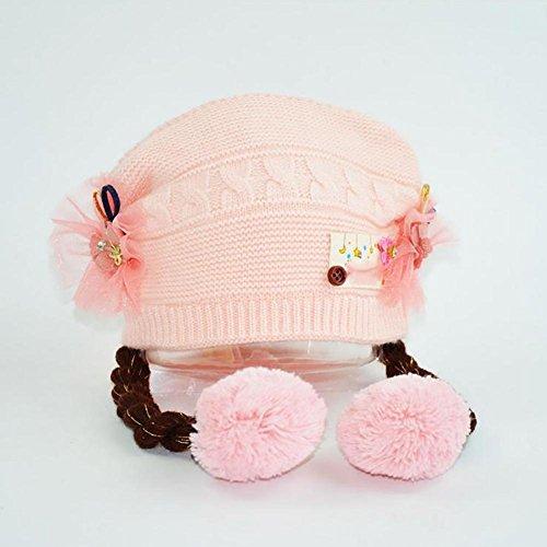 Perücke Baby (MäDchen Hut Knitted Cap PerüCke Cute Warm 0-2 Jahre Alt Neugeborenen FrüHling Herbst Winter Baby , Pink , 42-50cm0-2 years)