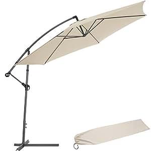 tectake sonnenschirm ampelschirm mit metallgestell uv schutz 350cm beige schutzh lle. Black Bedroom Furniture Sets. Home Design Ideas