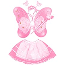 4 PC/sistema mariposa lindo estilo niños niños ala varita diadema vestidos niña hada traje para Halloween Cosplay escuela Show fiesta rosa