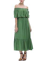 Vestidos De Mujer Vestidos Largos De Verano Hombro Descubierto Cuello Barco Basic Volantes Joven Moda Hippie
