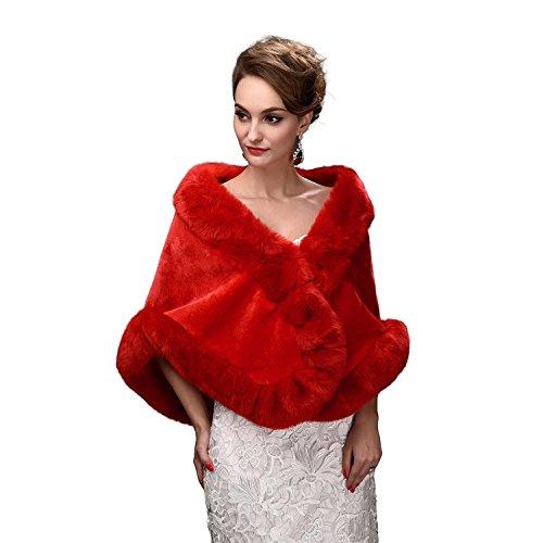 SCFL Frauen verdicken Faux Pelz Wrap Schals Warm Poncho Hochzeit Faux Pelz Braut Schals Jacke Stolen f¨¹r Winter Brautkleid - Red Fox Pelz Jacke