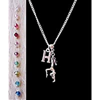Handmade Sterling Silver Chain Personalised Initial Gymnastic Charm Necklace with Swarovski Crystal