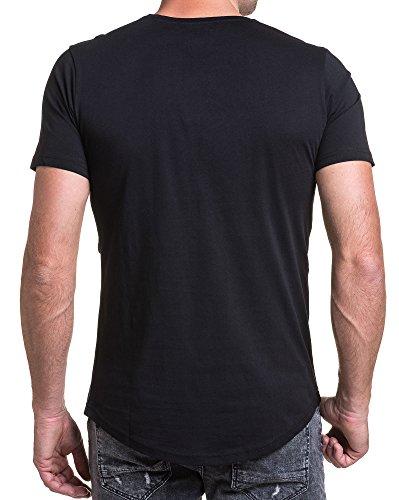 BLZ jeans - T-Shirt mit schwarzem Schädel gedruckt Relief Schwarz