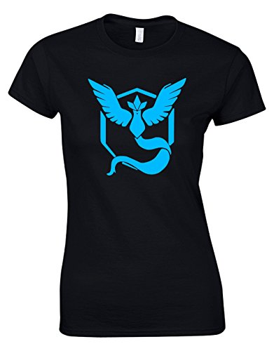 Designs by The Crown Team Mystic Blue Emblem Motif Pokemon Inspired Gift for Women & Teenagers Fitted T-Shirts Tops