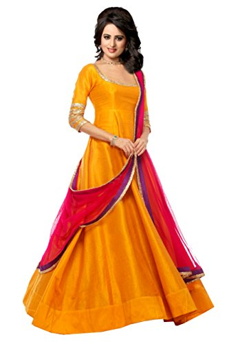 Edeal Online Yellow Banglori Silk Anarkali Dress (GV42 maza)