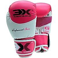 3X - guantes de boxeo de piel para Muay Thai y Boxeo, de formación, varias medidas, color rosa, tamaño 340 g