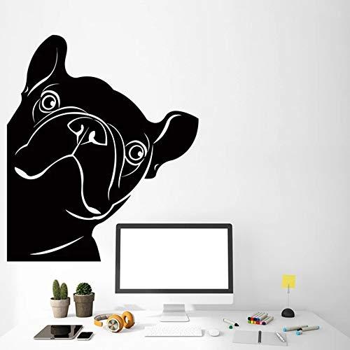 jiushivr Drôle Français Bouledogue Autocollants pour Pet Shop Chien Vinyle Sticker Décor Salle De Jeux Décoration pour Le Salon Amovible 57x67cm