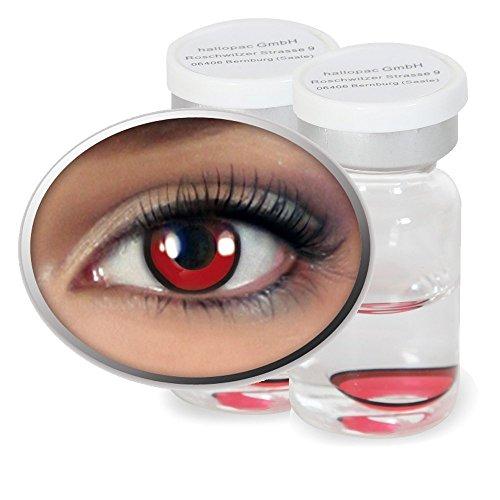 Kontaktlinsen farbig ohne Stärke, Vampir Werwolf rot, 12 Monate verwendbar mit Aufbewahrungsbehälter