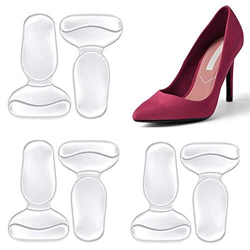 DaricowathX - Protezioni per tallone, a forma di T, autoadesive, in silicone, per scarpe da donna, per scarpe troppo grandi, con filo antiscivolo, per la cura dei piedi, confezione da 6