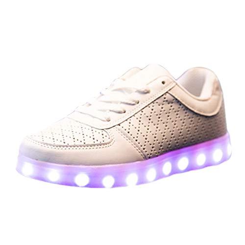 Herren Erwachsene High-Top LED Schuhe Sneaker Sportschuhe USB Lade Outdoor Leichtathletik beiläufige Paare Schuhe, Dorial Sportschuhe Sneaker Running Wanderschuhe Outdoorschuhe(Weiß,43 EU)