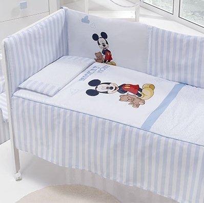 Mickey Mouse - Edredón, protector y cojín, 70 x 140 cm, Maxicuna