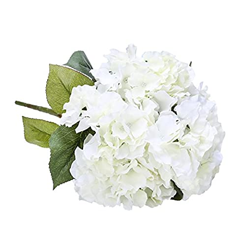 Houda 5 Big Heads Artificial Silk Hydrangea Bouquet Fake Flowers Arrangement Home Wedding decor (Cream)