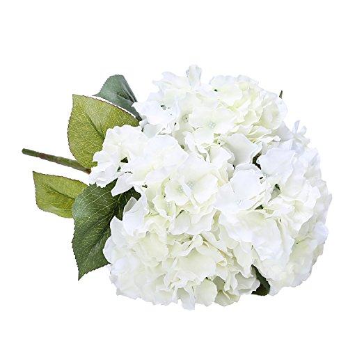 Houda Blumenstrauß, Kunstseide, Hortensien, für Heimdekor oder Hochzeiten. cremefarben (Wohnung Blütenblatt 5)