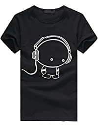 T Shirt Homme Manche Courts en Coton Slim Fit Ete Casual Imprimé Sexy Mode  Col Rond bc97b1b572d8