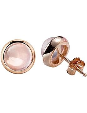 Joyfulshine Frauen Schmuck Mode Rose Quarz Kristall Runde Geformte Ohrstecker Zubehör Rose Gold Farbe Pink