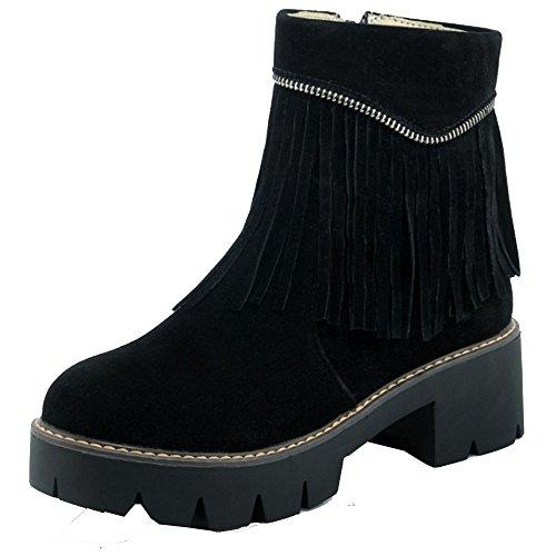 TAOFFEN Damen Mode-Event Synthetik Wildleder Blockabsatz schuhe Retro rom Ankle-Boots mit Fransen und Reißverschluss Schwarz