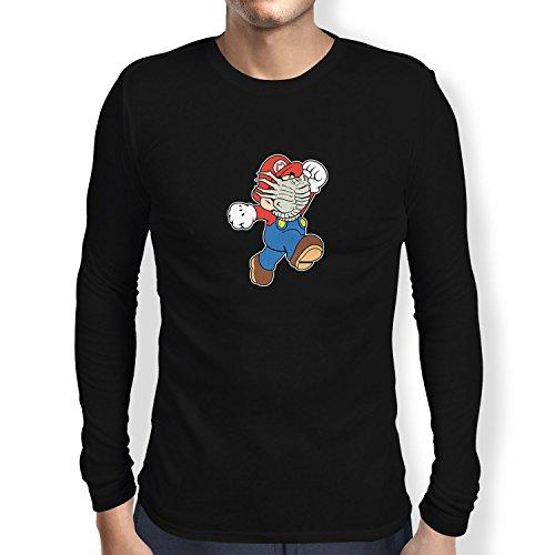 Dead Mario Kostüm - NERDO Mario Face Hug - Herren Langarm T-Shirt, Größe XXL, Schwarz