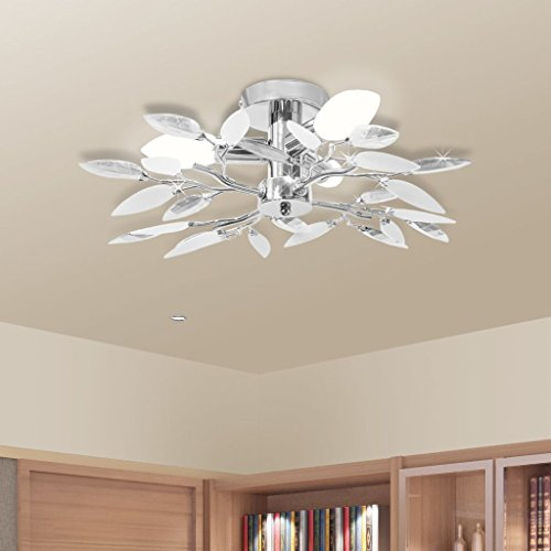 Lámpara Colgante para Comedor Salón Lámpara de Techo Moderna con Forma de Hojas Cristal Acrílico Blanco