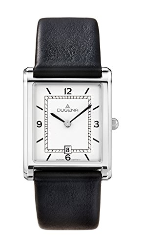 Dugena Men's Elegant Quartz Watch with White Dial Analogue Display and Black Leather Strap