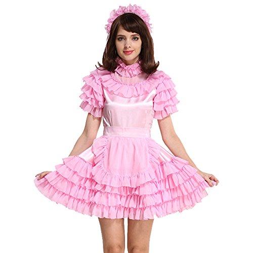Schürze Stil Kleid (GOceBaby Abschließbar Zofen Satén Rosa Kleid Kostüm Puffy Stil (XXXL))