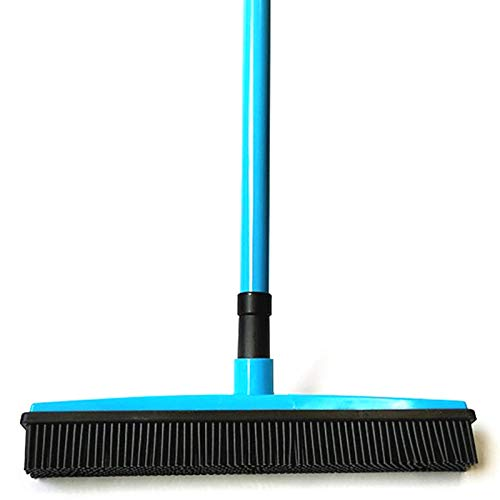 Scopa in gomma con manico lungo regolabile, ideale per la rimozione dei peli di animali domestici, per pavimenti in legno, piastrelle, finestre, interni ed esterni as show Blue