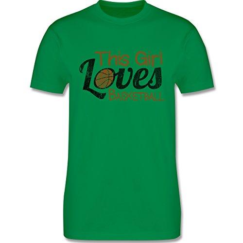 Basketball - This Girl loves Basketball - Vintage look - L190 Herren Premium Rundhals T-Shirt Grün