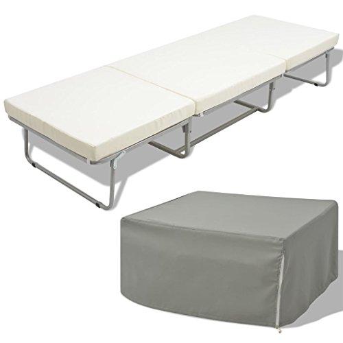 vidaXL Cama/taburete Modelo Plegable con Colchón Incluido Marco Acero...