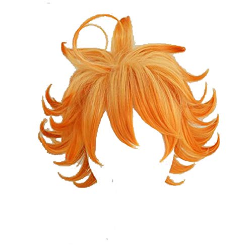 Dailygocn Neverland Emma Perücke Cosplay Kostüm Frau Orange Hochtemperaturseide 30cm Kurz Lockig Haar Halloween Verrücktes Kleid Zubehör zum Erwachsene & Teen