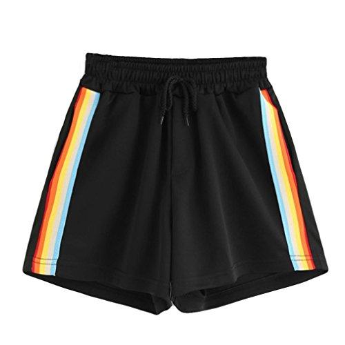 Shorts Damen Sommer, BakeLIN Casual Regenbogen Drucken Sport Yoga Kurze Hose Lose Hot Pants (S~L, Schwarz) (L, Schwarz) (Regenbogen-farbige Leggings)