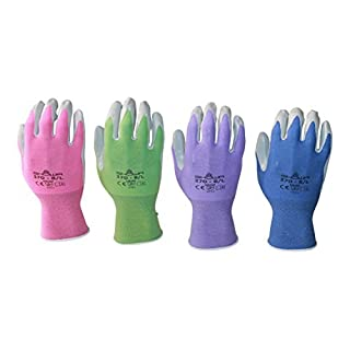 Atlas 370 Garden Glove 4 Pack (Medium, purple pink periwinkle green)