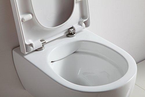 SSWW Design Hänge WC Spülrandlos Toilette inkl. WC Sitz mit Softclose Absenkautomatik + Abnehmbar - 5