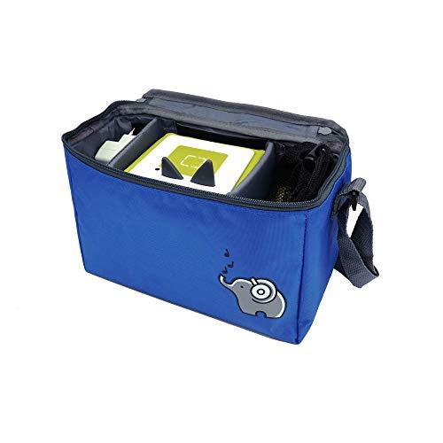 Musik-Tasche (blau) passend für Musikboxen (zB Toniebox und tigerbox) oder CDs| 3 beliebig verstellbare Innenfächer | Mit Netzbeutel für Zubehör (z.B. Kopfhörer oder bis zu 10 Toniefiguren)