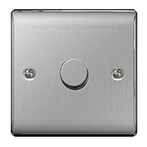 Masterplug NBS81P 2-Way Metal Brushed Steel Push On/ Off Dimmer Switch 400 W 1-Gang
