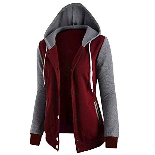 Sentao Femme Manteau Veste à Capuche Hoodie Sport Épissure Sweat shirt Casual Zip Jumper Hauts Tops Blouson Rouge