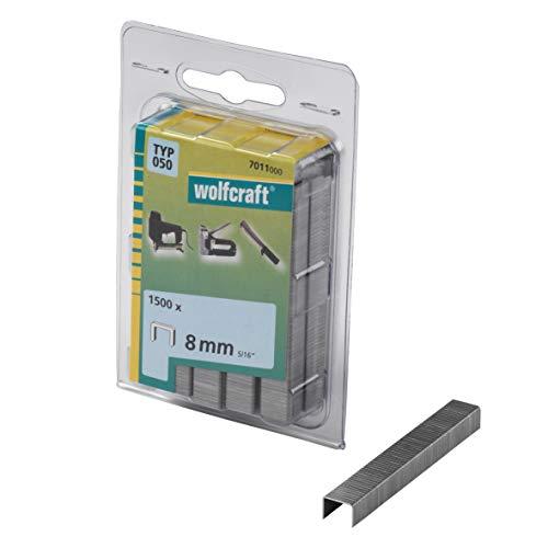 Wolfcraft 7011000 7011000-1500 Grapas de Lomo Ancho, Tipo 050, 100 x 50 x 50 cm Set de 1500 Piezas